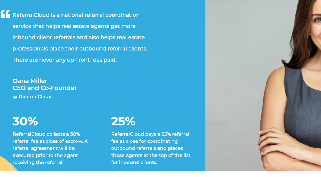 ReferralCloud lets agents get more leads paid at closing instead of paying up front.  real estate leads paid at closing.
