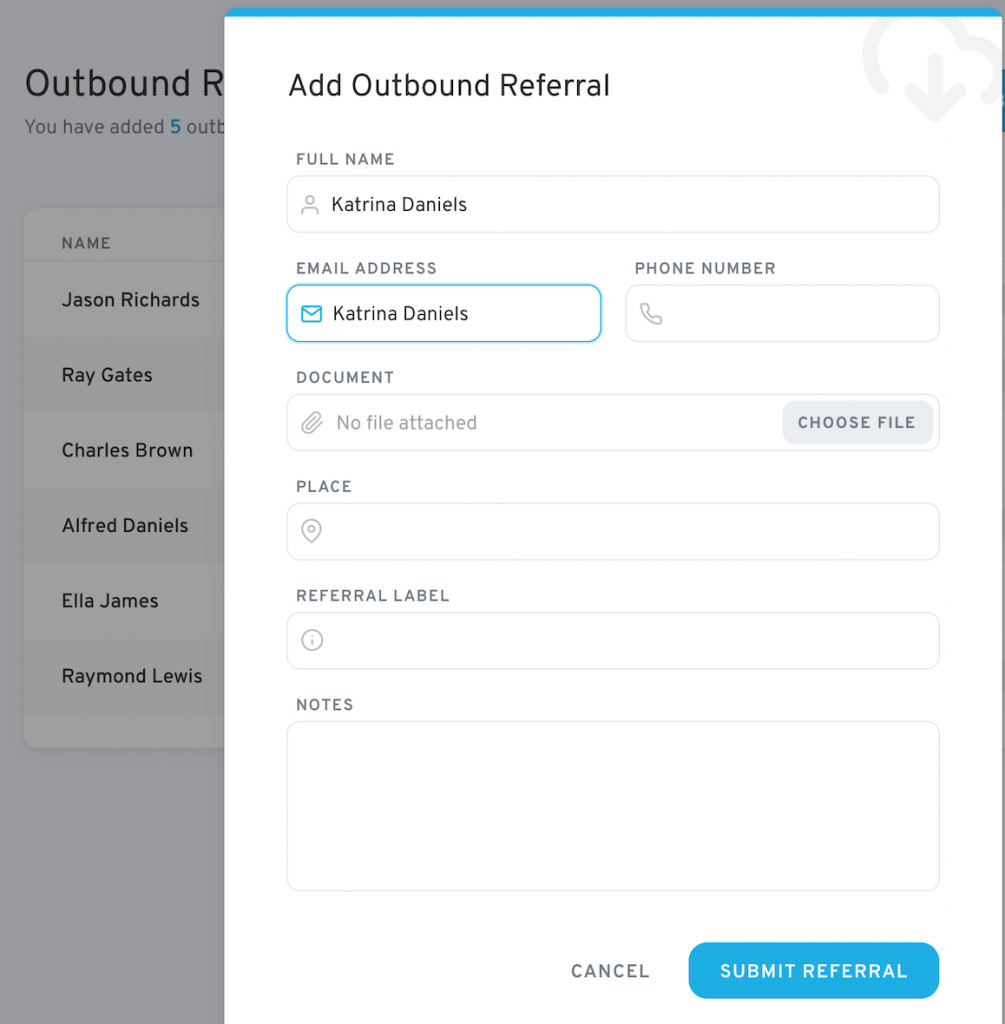 Adding a new referral with ReferralCloud